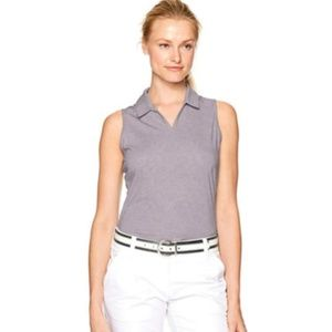Adidas Golf Tonal Stripe Cap Sleeve Gray Polo XL